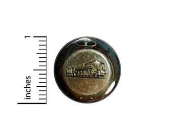 Vintage Fob Watch Train Button // Steampunk Dieselpunk Cosplay Pinback // Pin 1 Inch 14-26