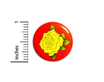 Backpack Pin Button Yellow Rose Cool Red Cute Backpack Jacket Pin Pretty Pinback 1 Inch #55-20