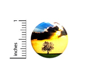 Tree Field Sunset Button 1 Inch Beautiful Nature Lover Gift Backpack Pin #37-21