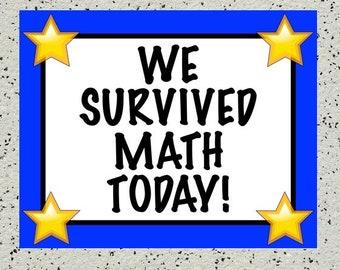 Printable Award, Homeschool Sign, Funny Poster, Humor, We Survived Math, I Hate Algebra, Award, Homeschooling, For Child, For Mom, For Dad