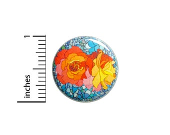 Pretty Roses Button Orange Pink Backpack Pin Pretty Button Lapel Pinback Little Gift 1 Inch #82-1