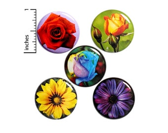 Flower Buttons Pins for Backpacks Jackets Lapel Pins Pinbacks or Fridge Magnets Pretty Best Friend 5 Pack Gift Set 1 Inch P29-5