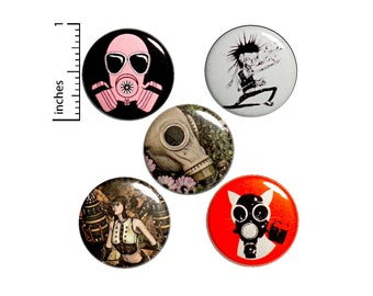 "Apocalyptic Buttons or Fridge Magnets // 5 Pack // Backpack Pins // Punk Rock Badges // Steampunk // Lapel Pins // Gas Mask Pins 1"" // #P6-4"