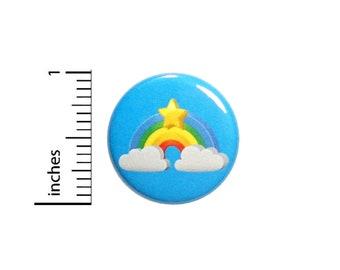 Cute Blue Rainbow Star Button Backpack Jacket Pin Cartoon Fun Gift 1 Inch #38-3