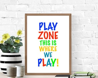 Play Zone Sign, Printable Poster, Cute Play Room Sign, Digital Wall Sign, Primary Colors, Kid's Room Sign, Nursery Poster, Fun Playful Sign