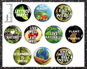 Healthy Eater Health Buttons Lapel Backpack Jacket Pins Badges Eat Well Be Well Earth Friendly Smart Eating Choices 10 Pack 1 Inch 10P10-2