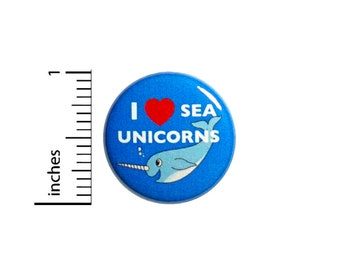 Narwhal Funny Button Pin Funny I Love Sea Unicorns Jacket Backpack Pin Cute Pinback Badge Lapel Pin Brooch 1 Inch 56-7