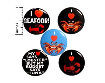 Seafood Buttons 5 Pack of Pins for Backpacks or Jackets Pinback Badges Lapel Pins I Love Lobster Crab 1 Inch P28-5