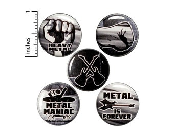 "Heavy Metal Music Pin, Button for Backpack or Magnet Set, Lapel Pins, 80's Style, Metalhead Backpack Pin or Magnet Gift Set, 5 Pack 1"" P25-5"