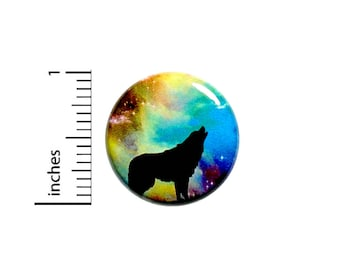 Funny Button Wolf In Outer Space Fantasy Cool Rad Backpack Pin Pinback 1 Inch #39-17