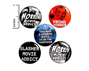 "Horror Movie Buttons or Fridge Magnets // Backpack Pins // 60's Sci Fi // Vintage Horror Movies // Magnets // 5 Pack // Gift Set 1"" #P11-5"