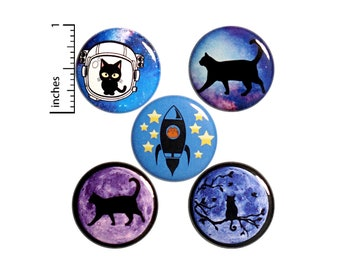 "Cat Space Pin for Backpack, Buttons or Fridge Magnets, Cat Astronaut, Kitty Moon, Space Walking, Cute Cat Pin or Magnet Gift Set 1"" #P18-2"