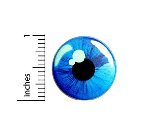 Eyeball Button Pin Weird Odd Blue Eye Badge for Backpacks or Jackets Bizarre Wacky Strange Cool Pinback Lapel Pin 1 Inch 88-24