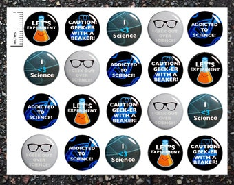 I Love Science Buttons, 20 Pack, Scientific Pinback Buttons, Pin Back Buttons or Magnets, Chemistry Party Favors, Scientist Pins 20P7-2