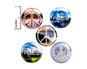 Peace Pin Buttons or Fridge Magnets, Backpack Pins, 5 Pack, Set of Buttons or Magnets, Gift Set, Pin-backs Peace and Love Gift, 1 Inch #E1-5