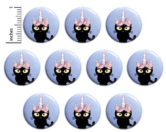 "Unicorn Kitty Buttons or Fridge Magnets, Cute Cat, Birthday Party Favors, Adorable Pins or Cute Magnets  (10 Pack) 1"" 10PS86-7"