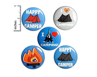 "Camping Buttons or Fridge Magnets // Backpack Pins // Cute Badges // Campfire // Lapel Pins // Magnets // 5 Pack // Camper Gift Set 1"" #P8-2"