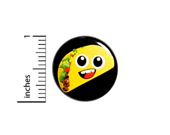 Funny Taco Button Pin Cartoon Smiling Happy Taco Face Jacket Pinback 1 Inch #74-17