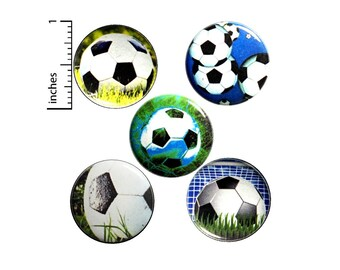 Soccer Ball Buttons or Fridge Magnets - Backpack Pins - Pinbacks Badges - Soccer Player - End of Season - Gift Set - 5 Pack - 1 Inch - SP1-4