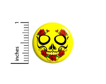 Skull Button Badge Cool Yellow Red Roses Tough Goth Pretty Pinback Pin 1 Inch #55-5