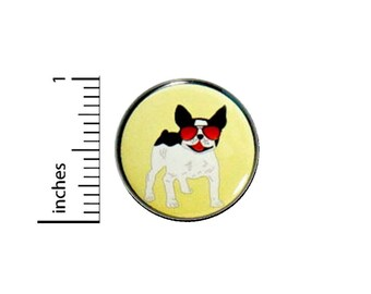 French Bulldog Funny Button // Frenchie With Sunglasses Backpack or Jacket Pinback // Gift Cool Pin // 1 Inch #37-31
