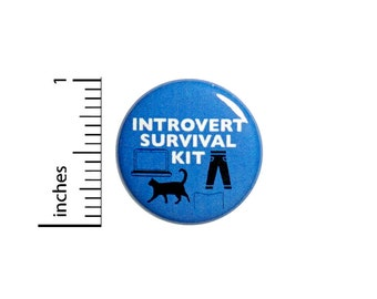 Funny Introvert Button Backpack Pin Introverts Survival Kit Cute Random Humor Cats Books Laptop Comfy Clothes Pinback 1 Inch 1 Inch #59-4