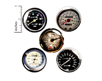 "Vintage Style Speedometer Pin for Backpack Buttons or Fridge Magnets, Dieselpunk Gifts, Steampunk, Backpack Pins, Gauges, Gift Set 1"" E1-2"