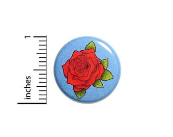 Backpack Pin Button Rose Pretty Red Blue Pinback Backpack Jacket Pretty Love Cool 1 Inch #41-26