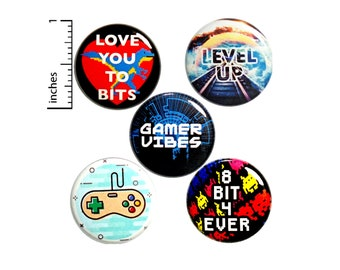 "Gamer Pin for Backpack, Buttons or Fridge Magnets, 80's Style, Video Games, Button Pin or Magnet, Video Game Nostalgia, Gift Set, 1"" P28-2"