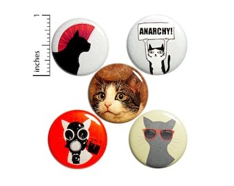 Cat Anarchy Buttons or Fridge Magnets, Pin for Backpack Set, Edgy Badges, Cool Punk Rock Pins, 5 Pack, Funny Buttons, Gift Set, 1 Inch P38-1