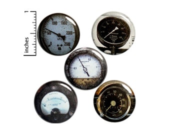"Steampunk Gauge, Pin for Backpack, Buttons or Fridge Magnets, Speedometer, Lapel Pins, Badges, Pin,  Dieselpunk, 5 Pack, Gift Set 1"" P26-3"