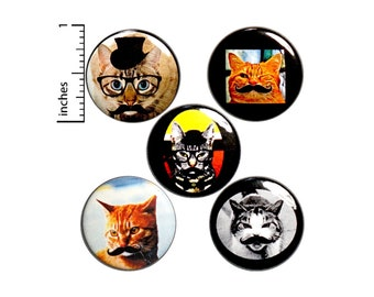 "Mustache Cats Backpack Pin Set of 5 Buttons or Fridge Magnets Cats In Disguises Badges Funny Cute Random Humor Lapel Pins 1"" P32-5"