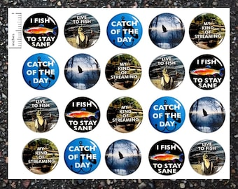 Fishing Buttons, 20 Pack, Fishing Party Favors, Pinback Buttons, Pin Back Buttons or Magnets, Fishing Themed Party Favors, Fish Pins 20P38-3