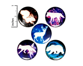 Space Forest Animals Buttons or Fridge Magnets - Space Pins - Backpack Pins or Magnets - Deer - Bear - Wolf - Fox - 5 Pack Set 1 Inch SP3-4