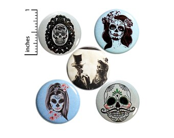 "Sugar Skull Buttons 5 Pack of Backpack Pins Macabre Macab Lapel Pins Cool Brooches Badges Accessories Macabre Edgy Gift Set 1"" P25-4"