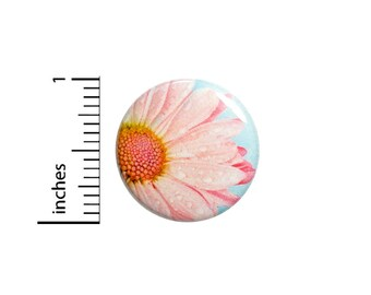 Cute Pink Daisy Flower Button Pretty Backpack Pin Unique Simple Small Gift Jacket Pinback Photography Graphic Art 1 Inch #65-19