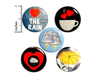 "Rainy Day Buttons Pins for Backpacks I Love The Rain Stormy Weather 5 Pack of Lapel Pins 1"" P33-3"