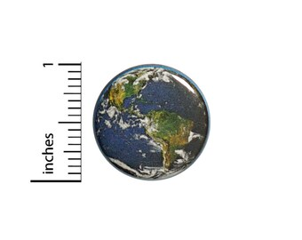 Earth Button Explorer Traveler Pin Cheap Gift Globe Save The Planet 1 Inch Geekery Nerdy #14-3
