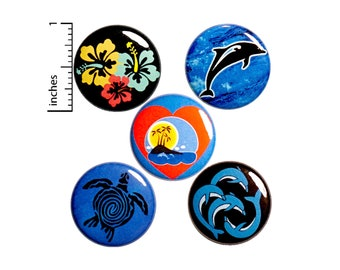 "Tropical Beach Pin for Backpack, Button or Fridge Magnet Set, Dolphins, Sea Turtle, Island Pin or Magnet 5 Pack, Gift Set, 1"" #P48-2"