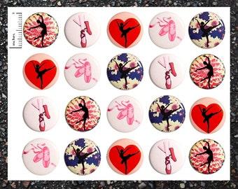 Ballet Buttons, 20 Pack, Dance Party Favors, Pinback Buttons, Pin Back Buttons or Magnets, Ballet Themed Party Favors, Dance Pins 20P20-4