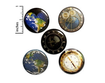 "World Travel Buttons or Fridge Magnets // 5 Pack // Globe Pins // Traveler Gift Set // Backpack Pins // Compass Pins // 1"" #P6-5"