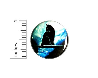 Cat Sitting At The Portal Of Time Button // for Backpack or Jacket Pinback // Cat Space Sci Fi  // Pin 1 Inch 9-9