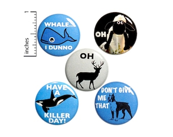 "Animal Puns Button 5 Pack of Backpack Pins Badges Lapel Pins Funny Pinbacks Bad Puns Humor Gift Set 1"" P16-3"