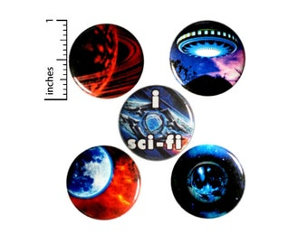 Space Sci-Fi Buttons or Fridge Magnets - Space Pins - Pins for Backpacks - Pinbacks or Magnets - Cool Space Gift - 5 Pack Set 1 Inch SP2-4