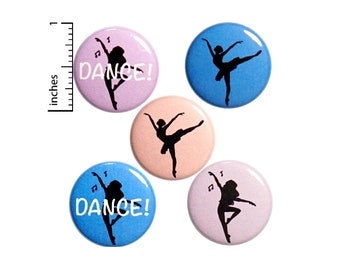 "Dance Buttons or Fridge Magnets // Dancer Backpack Pins // Jazz // Tap // Ballet // Pretty Set of 5 Pins or Magnets // Dancer Gift  1"" P16-1"