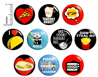 "Funny Fridge Magnets - Takeout Magnets - Pizza Magnets - Taco Magnets - Delivery - I Don't Cook - 10 Pack - Foodie Gift Set - 1"" - 10MP16-2"