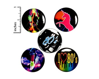 "I Love The 80'S Pin Buttons or Fridge Magnets, The 80's Gift Set, Backpack Pin 5 Pack, Buttons or Magnets, 80s Music, Dance 1"" EP3-2"