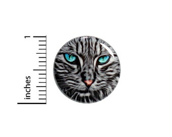 Cool Cat Button Badge Graphic Beautiful Unique Gift Teal Eyes Kitty Rad Wild Backpack Pin Pinback 1 Inch #65-17