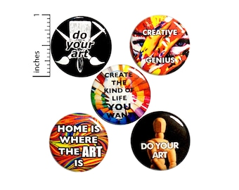 "Art Backpack Pin 5 Pack of Artist Buttons or Fridge Magnets // Cool Gifts // Lapel Pins // Painting // Performance Art // Gift Set 1"" #P8-3"