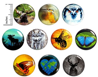 "Wildlife Buttons (10 Pack) Nature Conservation, Moose, Butterfly, Snow Owl, Wolf, Save The Planet, Pins or Magnets, Gift Set, 1"" 10P15-1"